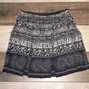 White House Black Market Pleated Flare Silk Skirt
